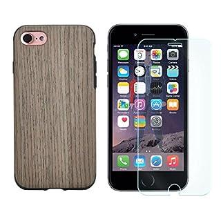 Panzer Glas + TPU Back Cover für Apple iPhone 7 in Holz Optik Slim Silikon TPU Schutz Hülle Case Bumper Eiche-Dunkel