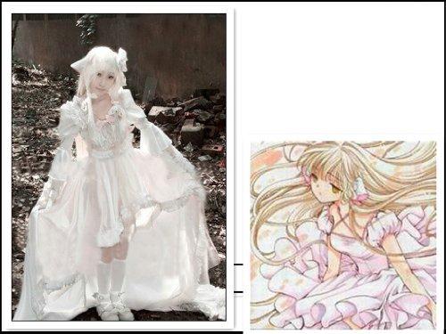 Chobits Chii Cosplay Kostüm weiß Lolita(Mailen Sie uns Ihre Größe), Größe XXL:(175-180 (Chobit Kostüm)