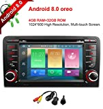 freeauto für Audi A3 S3 17,8 cm Android 8.0 Multi Touch Bildschirm Autoradio DVD Player GPS Canbus Screen Mirroring Funktion OBD2 Octa-Core 64bit 4 G RAM 32 GB ROM mit gratis Kamera
