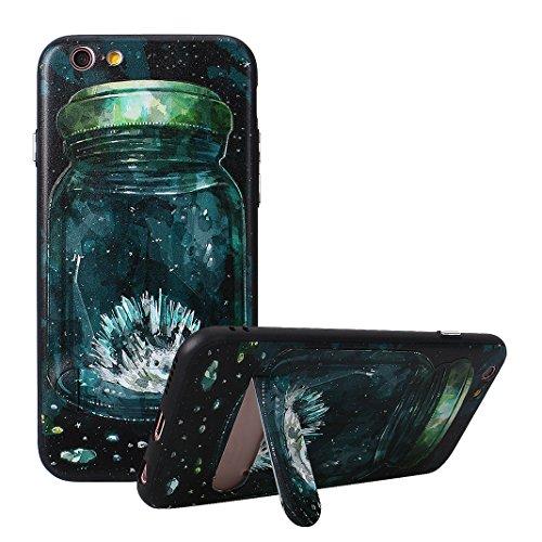 iPhone 6 6S Hülle, Asnlove Premium TPU Case Silikon Schale Ultra Dünn Relief Klar Weiche Bumper-Style Handyhülle Schwarz mit Stentfunktion Schutzhülle für Apple iPhone 6 / 6S 4.7 Zoll Case Cover - Rel Igel