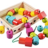 Isuper Lacing Beads Toys Beaded Wooden Toys Educational Toys for Toddlers