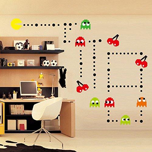 Ufengke® Fumetto Pac-Man Giochi Adesivi Murali, Camera Dei Bambini Vivai Adesivi Da Parete Removibili Stickers Murali Decorazione Murale