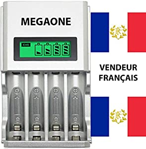 Chargeur rapide piles universel batterie rechargeable (VENDEUR FRANÇAIS) économique Ni-MH/Ni-Cd , AA/AAA automatique polyvalent Écran LCD intelligent Ultra léger multifonction intelligence artificielle (Rapid battery charger) Charge lente et rapide simult