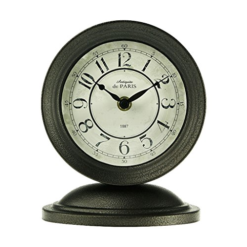 Industrie-shop Mäntel (WEIJUN SHOP Retro Mantel/Europäische Schmiedeeisen Metall Industrie Retro Quarzuhr Schreibtisch & Regal Uhr (Farbe : Grau))