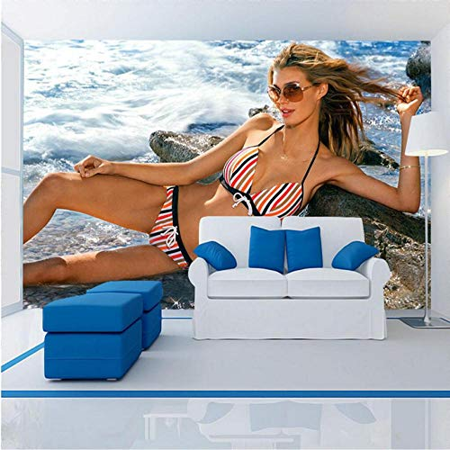 QThxqa Moderne 3d wallpaper sexy bikini schönheit tapeten wohnkultur 3d für schlafzimmer tv hintergrund 3d wandbild tapete restaurant-250X175CM