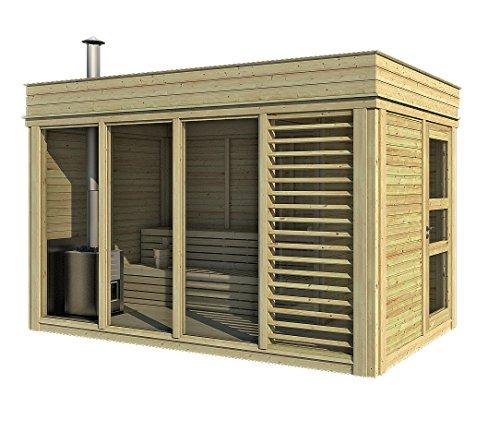 Finnische Sauna Cube Außenbeleuchtung bis 10Personen, in Tanne von Qualität 4×2 con STUFA a LEGNA