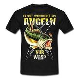 Spreadshirt Angel Designs Wichtigeres Angeln Rahmenlos Geschenk Männer T-Shirt, 4XL, Schwarz