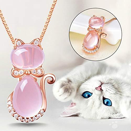 höne Frauen Strass Faux Opal Katze Anhänger Halskette Lange Kette Partei Schmuck ()