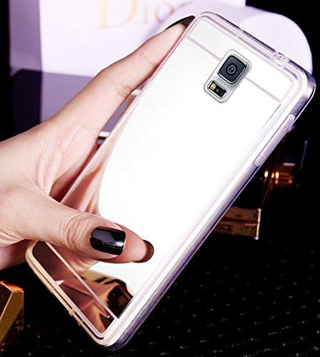 Uposao Kompatibel mit Galaxy S5 Spiegelhülle Mirror Case Hülle Transparent Crystal Clear Ultra Dünn Durchsichtige Silikon Schutzhülle TPU Case Bumper Cover,Silber -