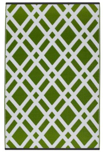 Fab Hab - Dublin - Limettengrün & Weiß - Teppich/ Matte für den Innen- und Außenbereich (180 cm x 270 cm)