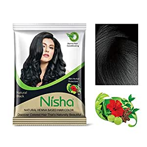 Nisha henna based Hair color 10g each packet No ammonia natural looks with herbal Natural Black color (Pack of 10)