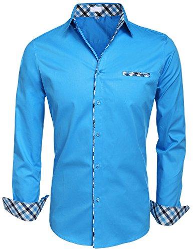 BeautyUU Herren Hemd Baumwolle Langarmhemd Slim Fit Freizeithemd Bügelleicht 1-Blau