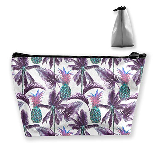 Floral Palm Trees Leaves Ananas Tixing Trapez Reise-Make-up-Tasche Kosmetiktaschen 7x12x22CM