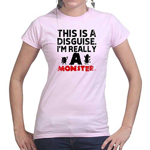 Womens Halloween Monster Disguise Mask Costume Ladies T Shirt (Tee, Top) Pink