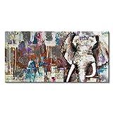 Gbwzz Handgemalte Moderne Tier Ölgemälde Wanddekoration Elefant Kunst auf Leinwand Palace Texture Artwork Bild gerahmt, 60x90cm