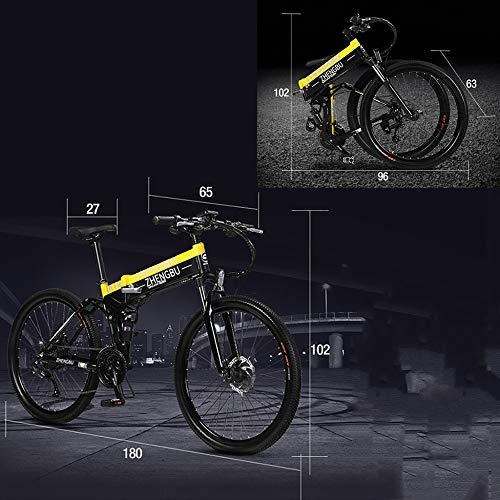 51S%2Byg8lXaL. SS500  - MERRYHE Folding Electric Mountain Bicycle 240W 48V 10AH Removable Li-Battery Cruiser Bike 27 Speeds Beach Snow Road Bikes Disc Brakes Full Suspension 26 Inch Tire