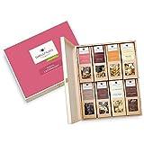 WELLNUSS Geschenk für Frauen: 8 Premium Nuss- und Schokoladen-Snacks in der Geschenkbox aus Birkenholz mit der Schmuckverpackung 'Ladiesnight' (8 Snacks in der Birkenholzbox)