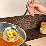 Rond en Acier Inoxydable en Acier Inoxydable passoire cuillère Filtre Filtre à Huile Grille Scoop, ZahuihuiM Cuisine Gadget de commodité créative (A, Taille Libre)