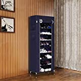PYXBE Multipurpose Portable Folding Shoes Rack 9 Tiers Multi-Purpose Shoe Storage Organizer Cabinet Tower with Iron and…