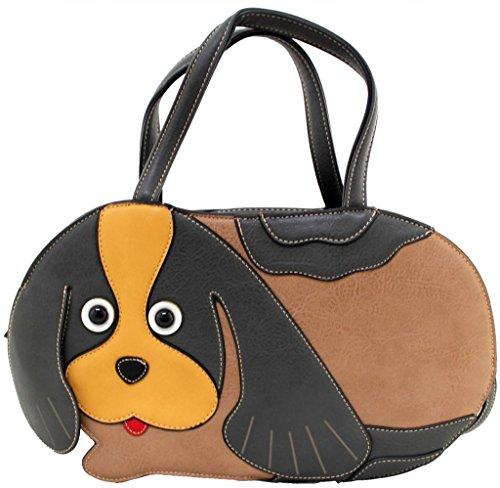 Kukubird Animal Dog Shape Faux Leather Handbag GREY