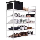 Goods & Gadgets XXL Schuhregal 91 x 88 x 30 cm Schuhablage mit 5 Ablagen für 25 Paar Schuhe als Schuhschrank und Schuhständer - weiß