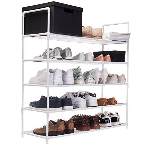 Goods & Gadgets XXL Schuhregal 91 x 88 x 30 cm Schuhablage mit 5 Ablagen für 25 Paar Schuhe als...