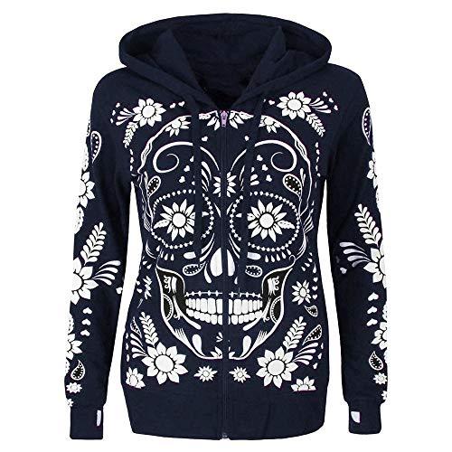 KEERADS Women Hoodie Sweatshirts Langarm-Shirt mit Totenkopf-Print und Reißverschluss und Kapuze Damen Pullover Kapuzenpullover -