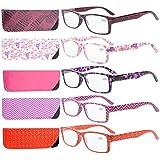Eyekepper 5-Pack Spring Hinges Patterned Rectangular Reading Glasses Readers Women +2.0