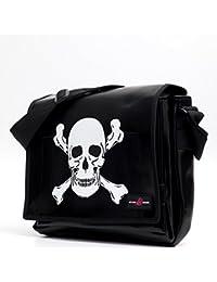 Messenger Bag Totenkopf Pentagramm Schwarz 38x33x11cm Büro & Schreibwaren Büro & Schreibwaren