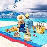 WolfWise 270x210 cm XXL strandlaken, wasbaar picknickdeken, campingdeken van zacht nylon, waterdicht, zandvrij, sneldrogend, met 4 palen draagbaar 270 x 210 cm donkerblauw