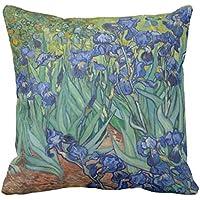 Retro tela Accent cuscini Iris di Vincent van Gogh, cuscini Custodia per Divano e divano 45,7x 45,7cm