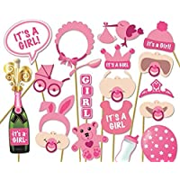 Veewon Babydusche Fotorequisiten & Fotoaccessoires Baby Flasche Masken Pink Photobooth Requisiten Neugeborenen Mädchen Geschenk Party Dekorationen, 20er Set