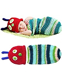 Babymoon (Set of 2) Caterpillar New Born Baby Photography Shoot Props Costume (Green)