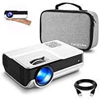 "FunLites 4600lux Portable Video Projector,Supported 1080P Outdoor Movie Projector with 200"" Display 50,000 Hrs, LED HD Projector Compatible with Fire TV Stick,PS4,HDMI,VGA,AV and USB(Latest Upgrade)"