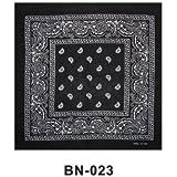 BLACK cotton bandana scarf SQUARE WHITE PAISLEY by TC-Accessories