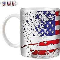 STUFF4 Tazza di Caffè/Tè 350ml/Americano/Bandiera Splat Paese/Ceramica Bianca/ST10