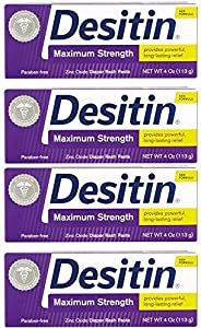 Desitin Diaper Rash Paste, Maximum Strength, 4 Ounces (Pack of 4)