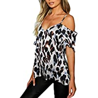Women Short Sleeve Off Shoulder Tops ❀ Ladies Leopard Print Blouse T-shirt Tops Summer Fashion Casual Tee Shirt
