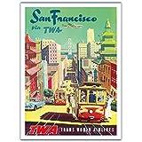San Francisco Kalifornien - Trans World Airlines TWA - Vintage Retro Fluggesellschaft Reise Plakat Poster von David Klein c.1950s - Premium 290gsm Giclée Kunstdruck - 30.5cm x 41cm