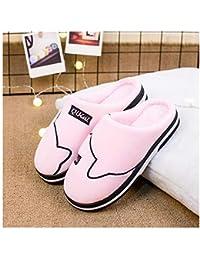 GAOHUI Slippers Los Hombres Otoño Invierno Antideslizante Térmico Terciopelo Artificial Personalizar Casual Amantes Zapatos,Rosa,38 39