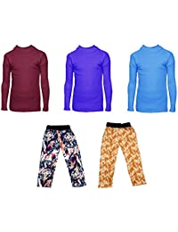 IndiStar Boys Combo Pack For Winter(Pack of 2 Printed Lower and 3 Wollen Full Sleeves T-Shirt/Inner/Skivvy )