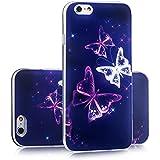 tinxi® Silikon Schutzhülle für Apple iPhone 6 Plus/6s plus 5.5 zoll Hülle Silicon Rückschale Cover Case Etui lila Schmetterling