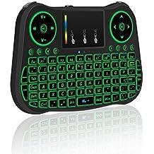 QQPOW 2.4GHz (Actualizado con la luz de fondo de Coloful,iris) Colorido retroiluminado Mini teclado inalámbrico, ratón Touchpad Combo, el mejor control remoto para la caja de Android TV, HTPC, IPTV, PC, Frambuesa pi 3, Pad y más Dispositivo (Nuevo colorido con retroiluminación)
