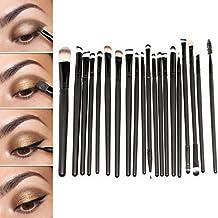 Juego de brochas para maquillaje profesional Sunnicy®, 20 unidades, set de pinceles, sombra de ojos, delineador de ojos, pincel de labios, color negro