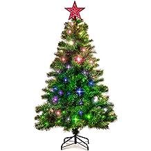 Eforink Árbol de Navidad Natural Verde Artificial, Modelo PINO, 180 cm,572 Ramas,Material PVC, con Estrella Roja, 250 LED Multicolores , soporte incluye