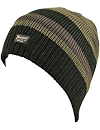 Stylish Mens Knitted Striped Fleece Lined Thermal Thinsulate Insulation Beanie Hat