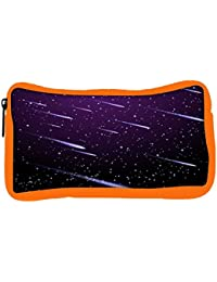 Snoogg Eco Friendly Canvas Background With Meteor Shower Student Pen Pencil Case Coin Purse Pouch Cosmetic Makeup...