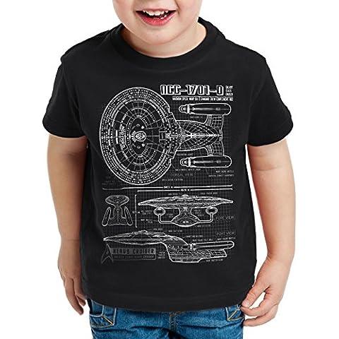 style3 NC-1701-D Cianotipo Camiseta para Niños T-Shirt fotocalco azul trek trekkie star
