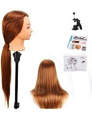 beautystar 75cm Yaki cosmétologie Tête Mannequin Mannequin de Formation de coiffure de cheveux synthétiques avec pince de support et cadeaux