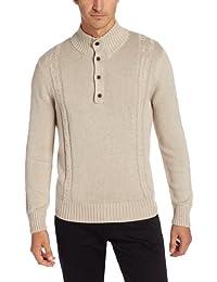 Alex Stevens Men's Two-Cable Quarter-Button Sweater